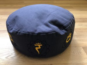 Dark Blue Meditation Cushion with Chakra symbols