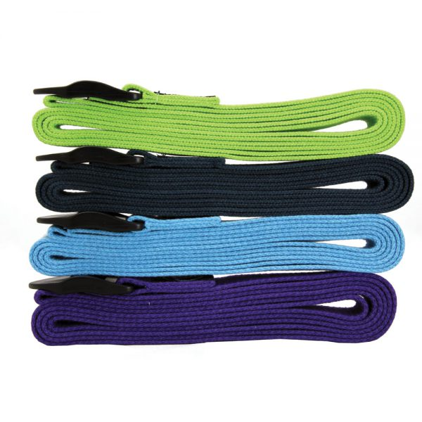 Four different coloured yoga straps